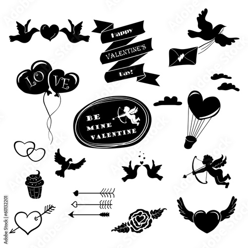 Set of vector stencil Valentine's Day