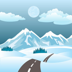 Illustration of the road in winter