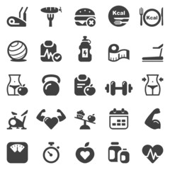 fitness & health iconset black