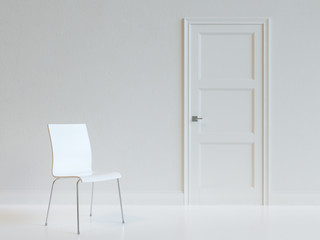 Empty White Room Interior With Chair.