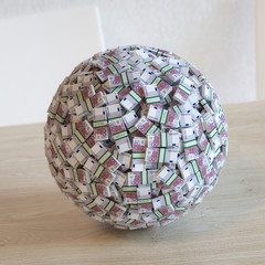 Sphere Made Up Of 500 Euro Money.