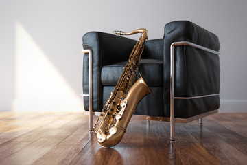 Cozy Leather Arnchair With Saxophone In Classic Bright Room