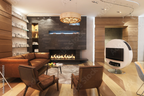 Living Room With Leather Sofa And Armchair Near The Fireplace