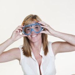Portrait of a woman wearing safety googles
