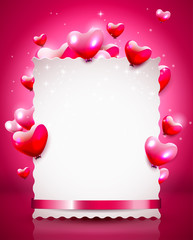 Modern Valentine background with empty paper an flying hearts