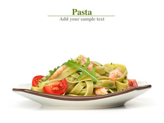 Pasta tagliatelle with shrimp and arugula