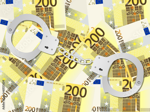 handcuffs on two hundred euro background