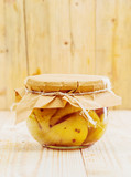 Speciality confection of preserved pears and vanilla poster
