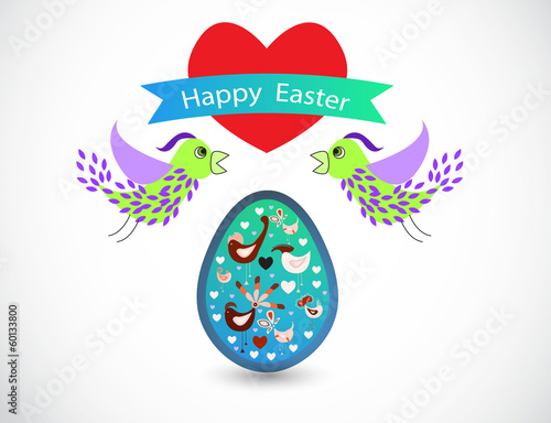 Easter vector background with colorful birds