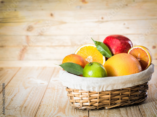 Colourful basket of tropical fruit
