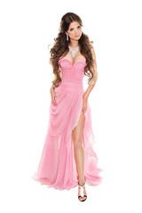 Full-length portrait of fashion woman in romantic pink dress iso