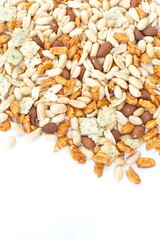 Assorted mixed nuts on white background