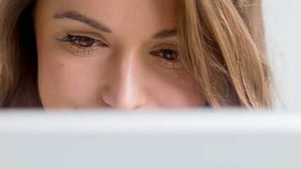 Close Up on Young Cute Lady, She Using Her Touchpad