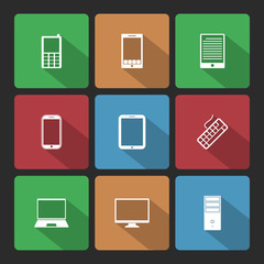 Mobile and Computers Icons Set with Long Shadow