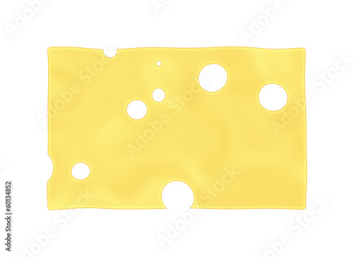 yellow cheese slice with hole on white backgrounds