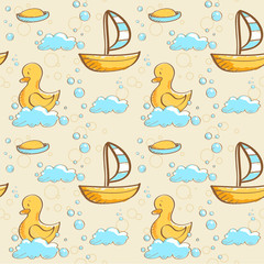 Bubble bath seamless pattern, vector illustration