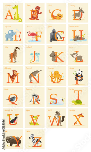 Animal alphabet set,  vector illustration