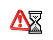 Warning symbol  and icon of sandglass.