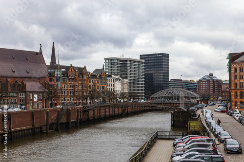 Hamburg, Germany. View of the canal and old buildings