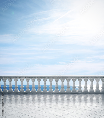 Antique terrace overlooking the sea