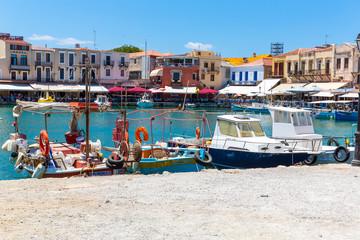 Old  venetian harbor in Rethymno, Crete, Greece