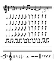 Musical set notes with musical score