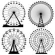 Set of silhouettes Ferris Wheel. - 60136850