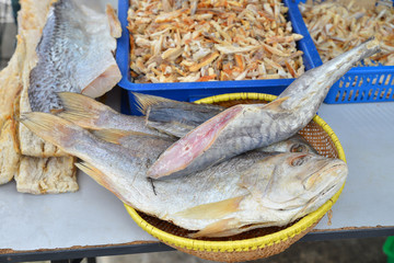 Salted Fish For Sale At A Market Stall