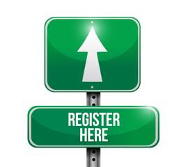 register here road sign illustration design