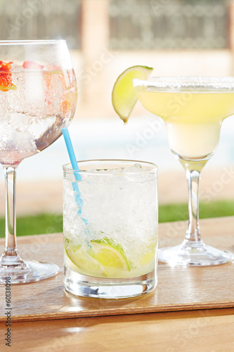 Caipirinha, strawberry gin and tonic and margarita cocktails by