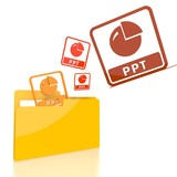 file folder with three ppt sign
