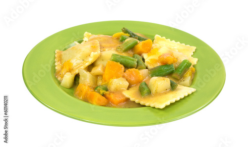 Ravioli Vegetables On Plate Side