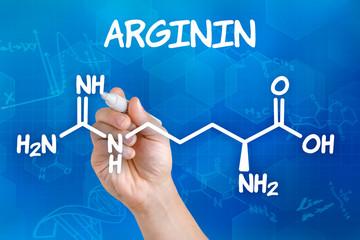 Hand zeichnet chemische Strukturformel von Arginin