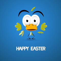 Happy Easter Blue Background with Abstract Chicken