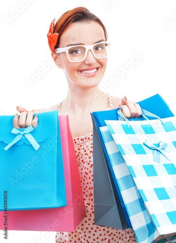 Shopper woman holding on sale many colorful shopping bags