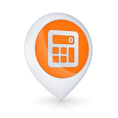 GPS icon with symbol of calculator.