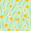Spring flowers narcissus natural seamless pattern.