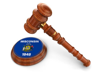 Wooden Mallet and flag Of Wisconsin (clipping path included)