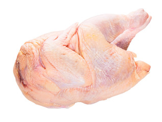 Whole chicken meat over white background