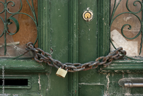 Green Door with Chain and Padlock