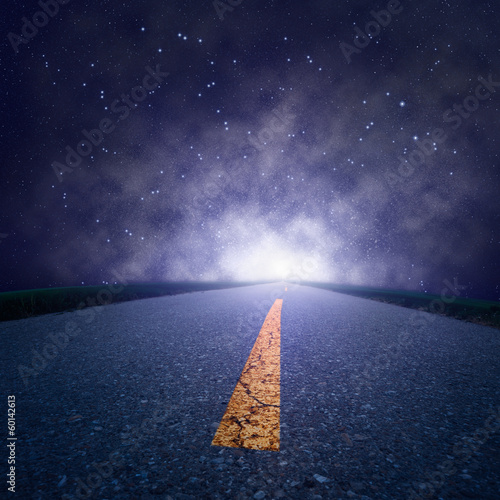 Driving on an empty road at night