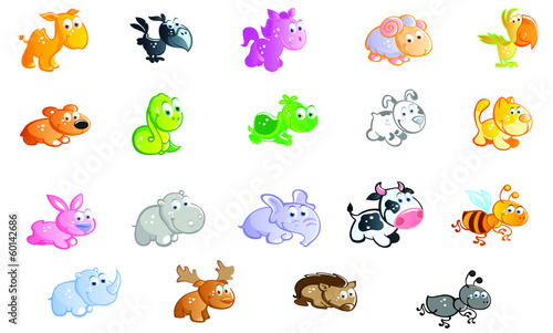 a big set of baby animals cartoon