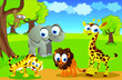 safari animals cartoon in jungle