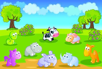 Baby animals cartoon with garden background
