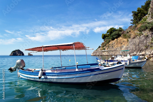 Fishing Boats in a Harbour and a Blue Sky Parga Greece