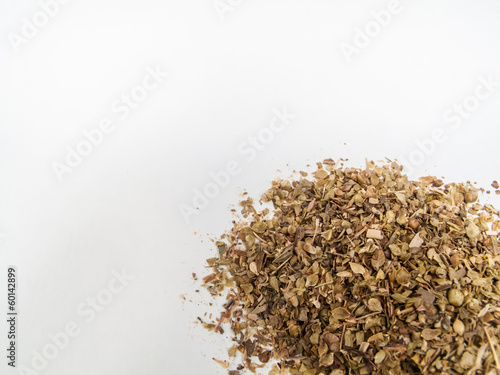 oregano whole on white blackground. Composition for text