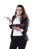 confused young business woman posing with a clipboard