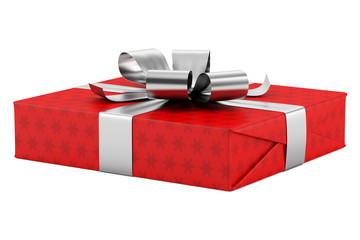red gift box with silver ribbon isolated on white background