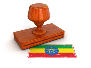 Rubber Stamp Ethiopia flag (clipping path included)