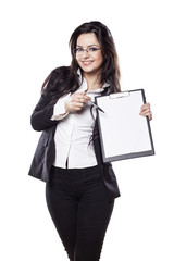 beautiful smiling young business woman posing with a clipboard